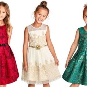 The Children's Place white and gold party dress